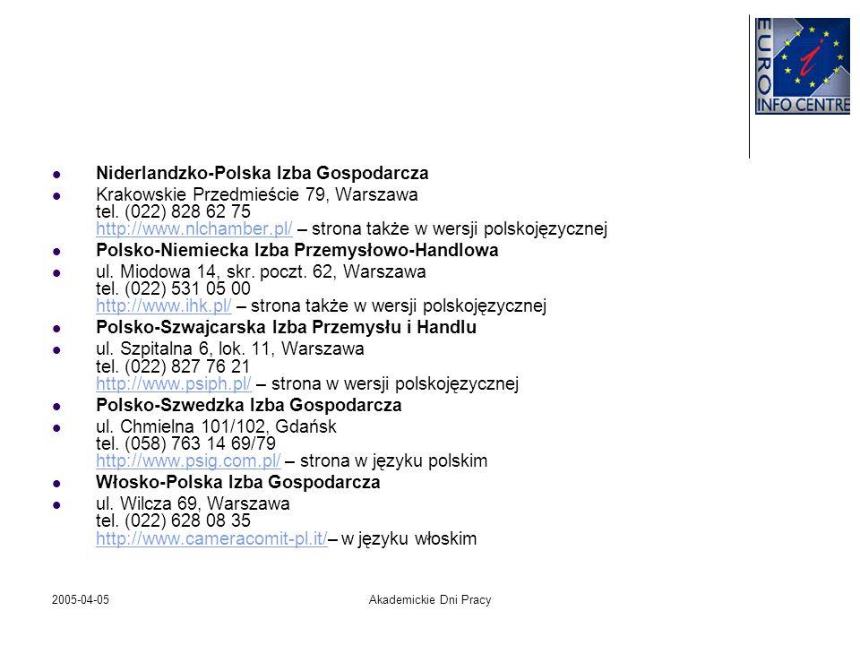 2005-04-05Akademickie Dni Pracy Niderlandzko-Polska Izba Gospodarcza Krakowskie Przedmieście 79, Warszawa tel. (022) 828 62 75 http://www.nlchamber.pl
