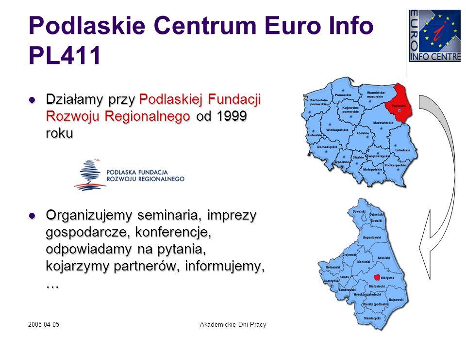 2005-04-05Akademickie Dni Pracy Podlaskie Centrum Euro Info PL411 Działamy przy Podlaskiej Fundacji Rozwoju Regionalnego od 1999 roku Działamy przy Po