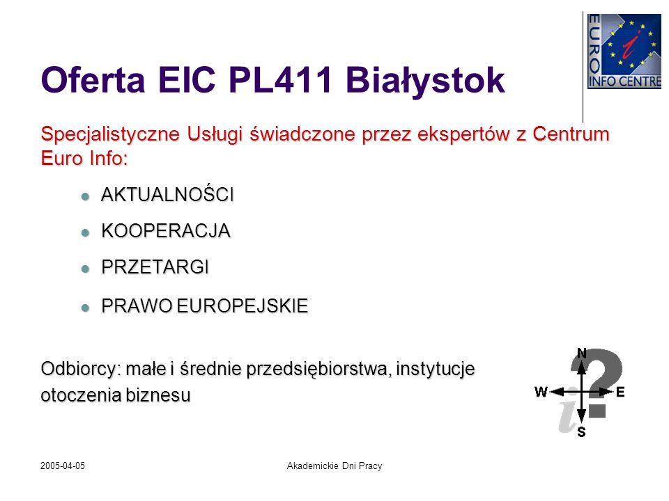 2005-04-05Akademickie Dni Pracy Oferta EIC PL411 Białystok Specjalistyczne Usługi świadczone przez ekspertów z Centrum Euro Info: AKTUALNOŚCI AKTUALNO