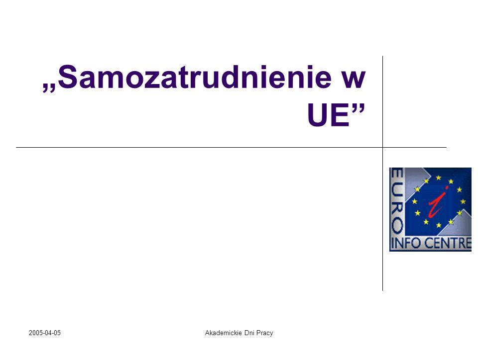 2005-04-05Akademickie Dni Pracy Biznesmeni w krajach Unii Europejskiej mogą być pewni jednego: zakładając firmę w innym niż swój kraju, ale w tzw.