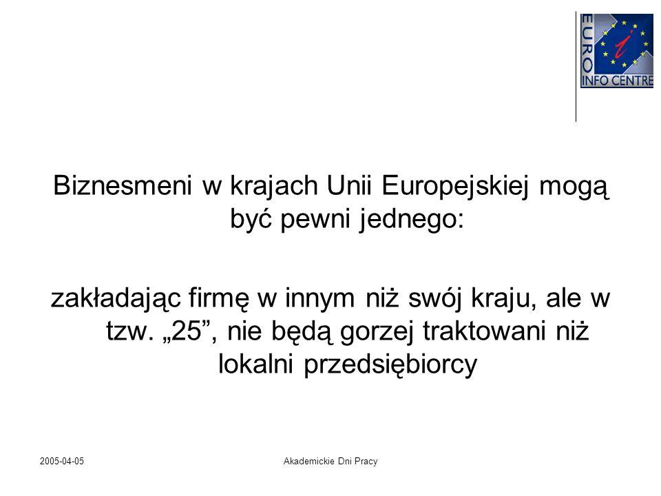 2005-04-05Akademickie Dni Pracy Biznesmeni w krajach Unii Europejskiej mogą być pewni jednego: zakładając firmę w innym niż swój kraju, ale w tzw. 25,