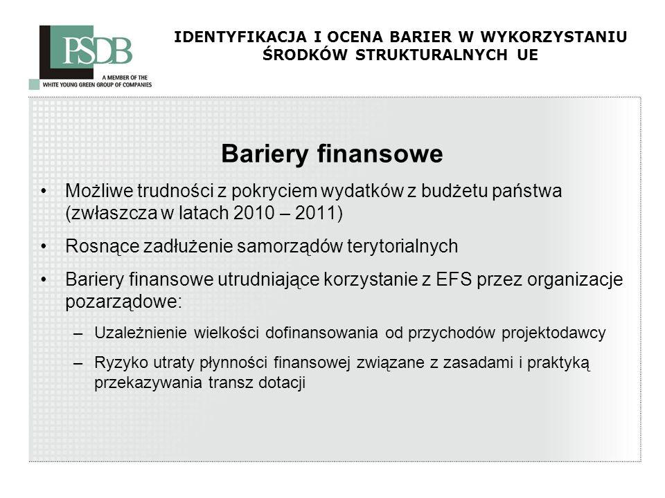 IDENTYFIKACJA I OCENA BARIER W WYKORZYSTANIU ŚRODKÓW STRUKTURALNYCH UE Bariery finansowe Możliwe trudności z pokryciem wydatków z budżetu państwa (zwł