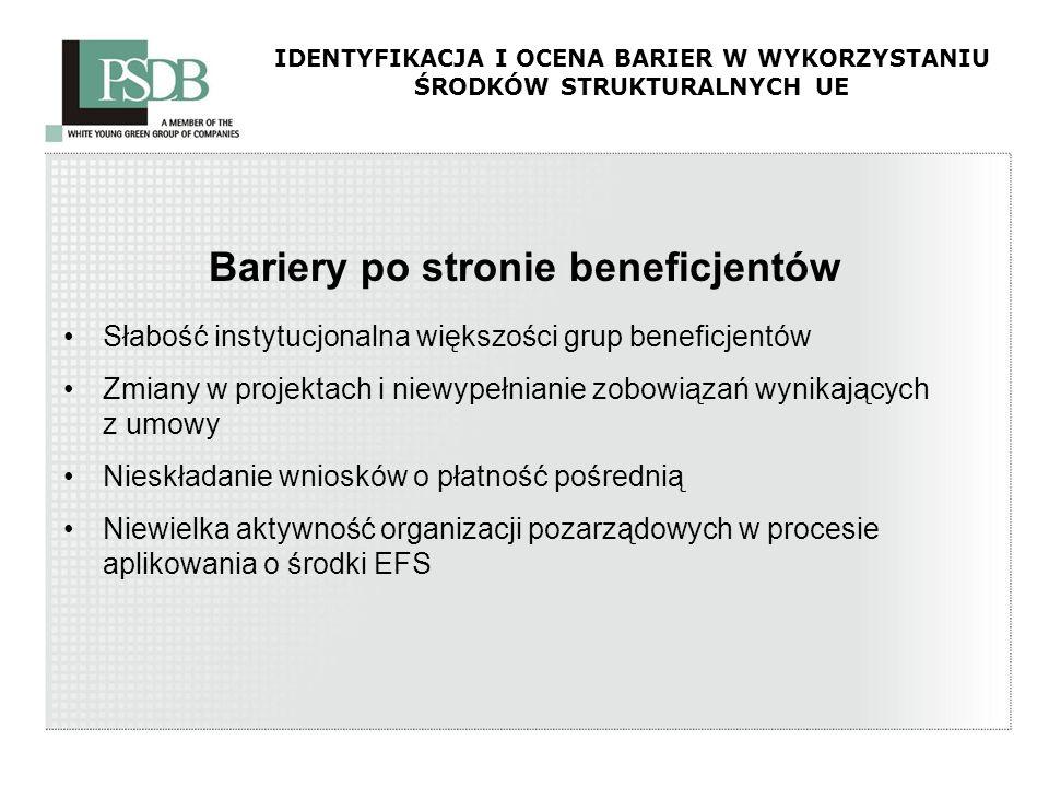 IDENTYFIKACJA I OCENA BARIER W WYKORZYSTANIU ŚRODKÓW STRUKTURALNYCH UE Bariery po stronie beneficjentów Słabość instytucjonalna większości grup benefi