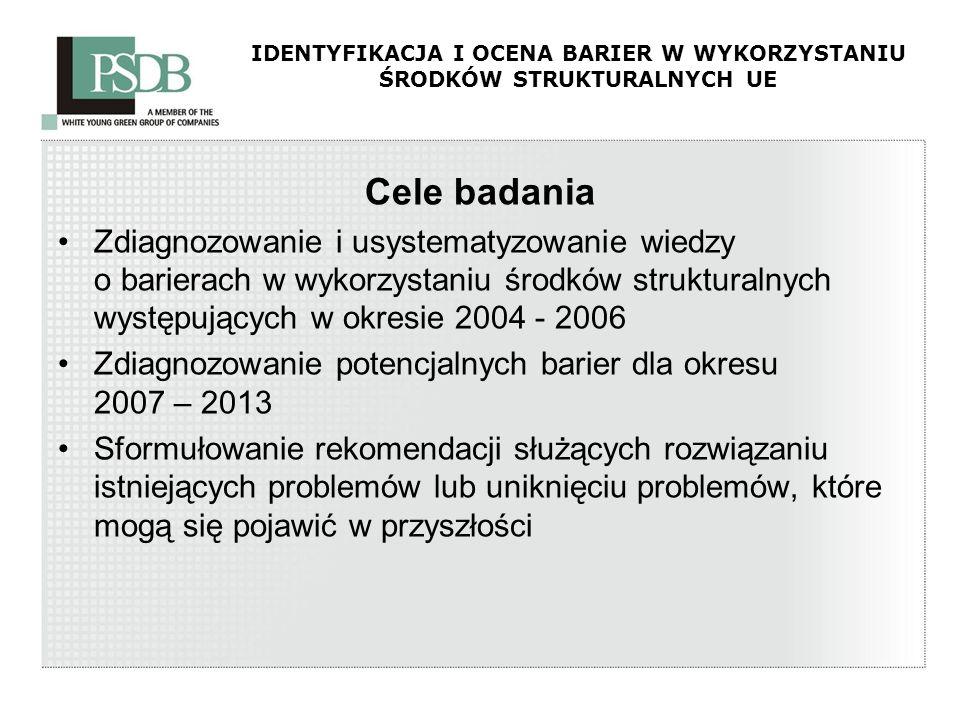IDENTYFIKACJA I OCENA BARIER W WYKORZYSTANIU ŚRODKÓW STRUKTURALNYCH UE Cele badania Zdiagnozowanie i usystematyzowanie wiedzy o barierach w wykorzysta