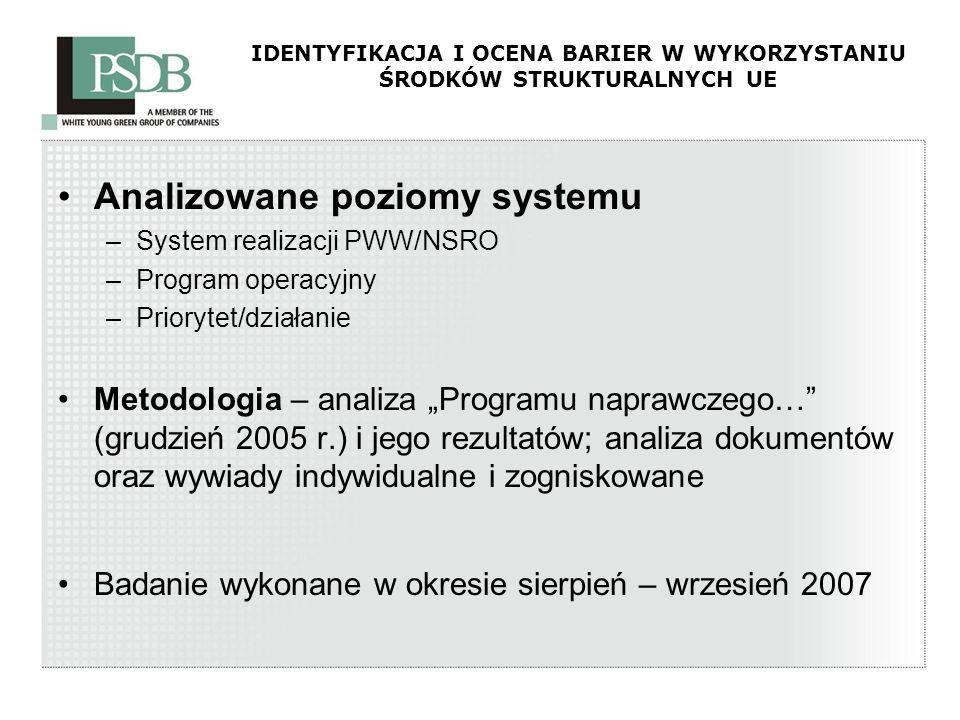 IDENTYFIKACJA I OCENA BARIER W WYKORZYSTANIU ŚRODKÓW STRUKTURALNYCH UE Analizowane poziomy systemu –System realizacji PWW/NSRO –Program operacyjny –Pr