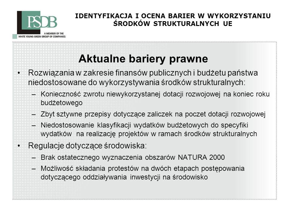 IDENTYFIKACJA I OCENA BARIER W WYKORZYSTANIU ŚRODKÓW STRUKTURALNYCH UE Aktualne bariery prawne Rozwiązania w zakresie finansów publicznych i budżetu p