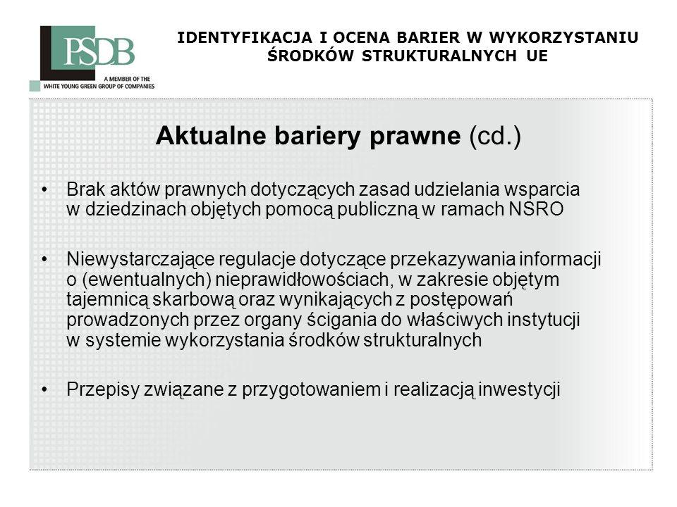 IDENTYFIKACJA I OCENA BARIER W WYKORZYSTANIU ŚRODKÓW STRUKTURALNYCH UE Aktualne bariery prawne (cd.) Brak aktów prawnych dotyczących zasad udzielania