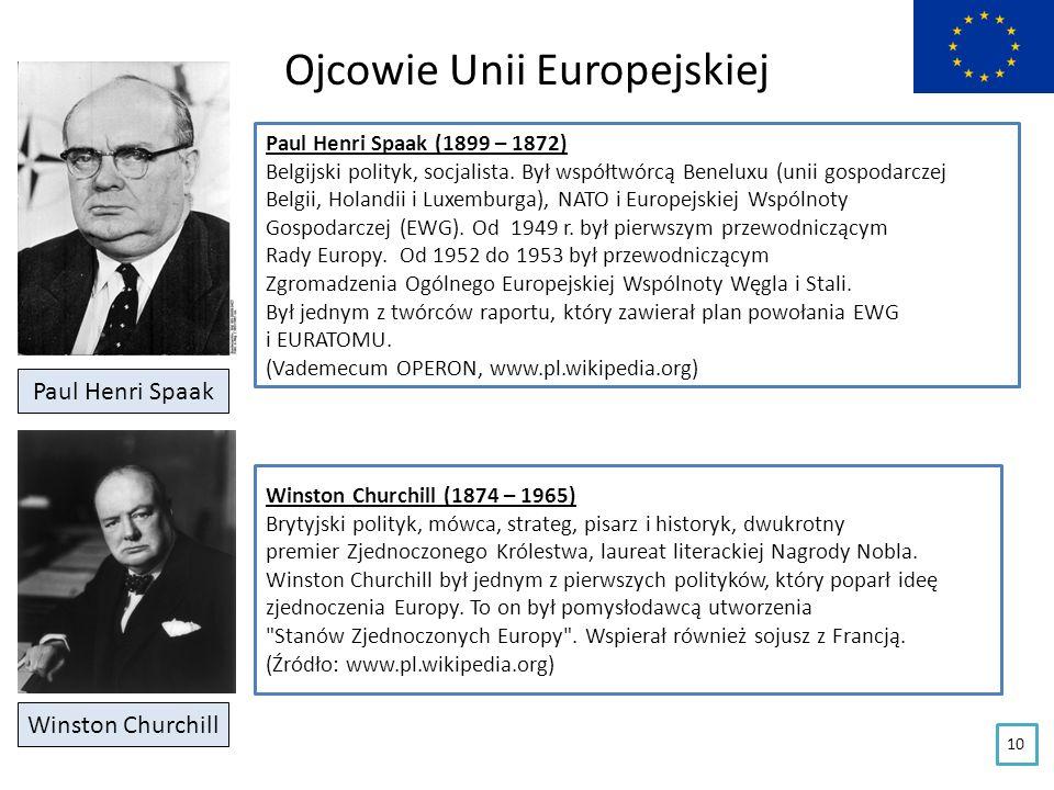 Ojcowie Unii Europejskiej Paul Henri Spaak Paul Henri Spaak (1899 – 1872) Belgijski polityk, socjalista. Był współtwórcą Beneluxu (unii gospodarczej B