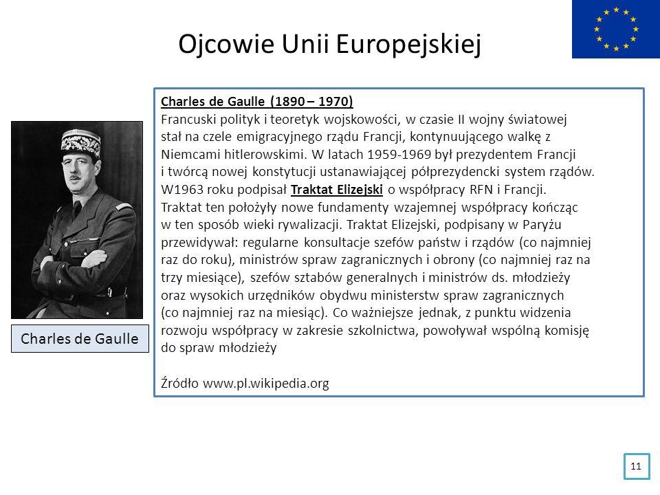 Ojcowie Unii Europejskiej Charles de Gaulle Charles de Gaulle (1890 – 1970) Francuski polityk i teoretyk wojskowości, w czasie II wojny światowej stał