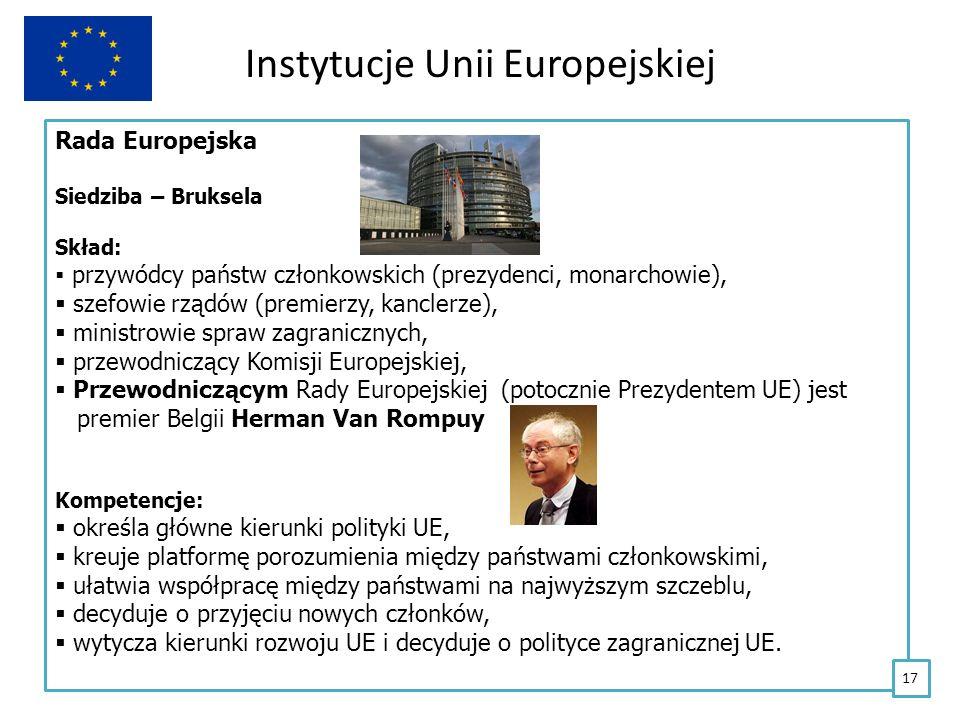 Instytucje Unii Europejskiej Rada Europejska Siedziba – Bruksela Skład: przywódcy państw członkowskich (prezydenci, monarchowie), szefowie rządów (pre