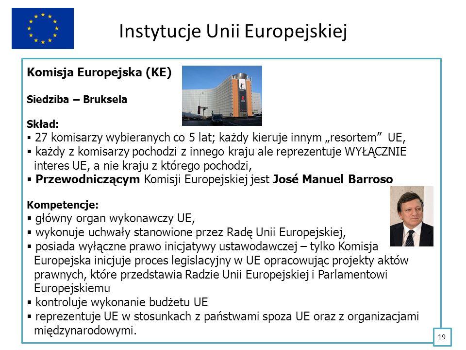 Instytucje Unii Europejskiej Komisja Europejska (KE) Siedziba – Bruksela Skład: 27 komisarzy wybieranych co 5 lat; każdy kieruje innym resortem UE, ka