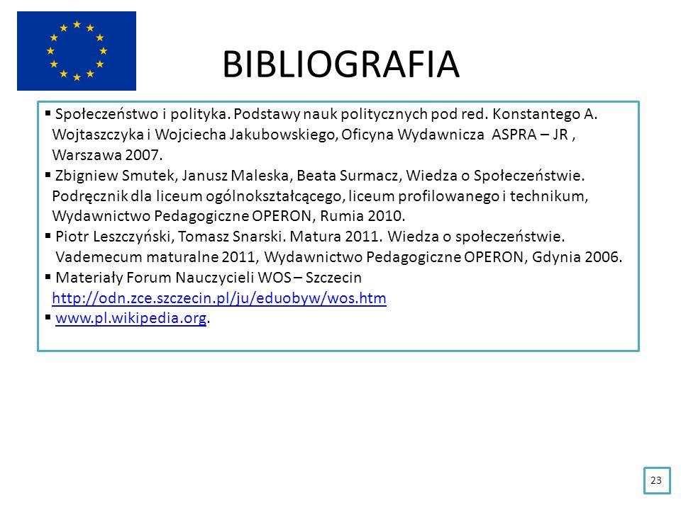 BIBLIOGRAFIA 23 Społeczeństwo i polityka. Podstawy nauk politycznych pod red. Konstantego A. Wojtaszczyka i Wojciecha Jakubowskiego, Oficyna Wydawnicz