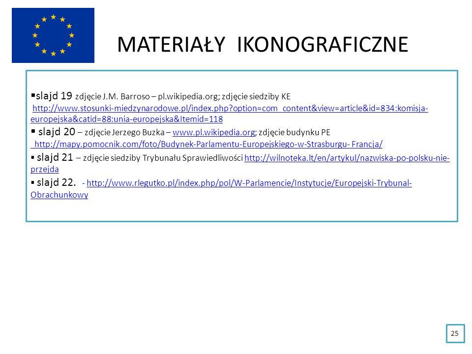 MATERIAŁY IKONOGRAFICZNE 25 slajd 19 zdjęcie J.M. Barroso – pl.wikipedia.org; zdjęcie siedziby KE http://www.stosunki-miedzynarodowe.pl/index.php?opti