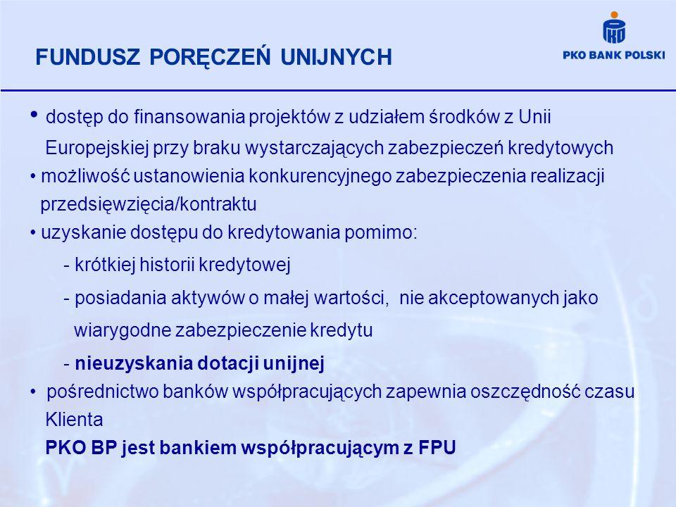 dostęp do finansowania projektów z udziałem środków z Unii Europejskiej przy braku wystarczających zabezpieczeń kredytowych możliwość ustanowienia kon