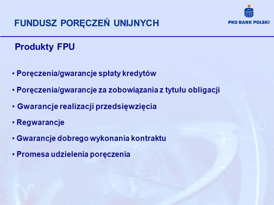 Produkty FPU Poręczenia/gwarancje spłaty kredytów Poręczenia/gwarancje za zobowiązania z tytułu obligacji Gwarancje realizacji przedsięwzięcia Regwara