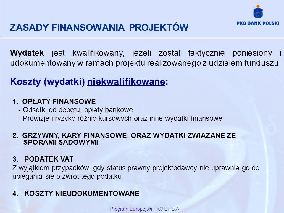 Program Europejski PKO BP S.A. ZASADY FINANSOWANIA PROJEKTÓW Wydatek jest kwalifikowany, jeżeli został faktycznie poniesiony i udokumentowany w ramach