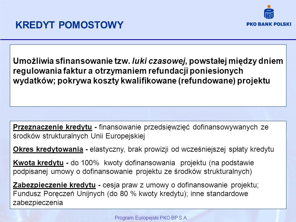 Program Europejski PKO BP S.A. Umożliwia sfinansowanie tzw. luki czasowej, powstałej między dniem regulowania faktur a otrzymaniem refundacji poniesio