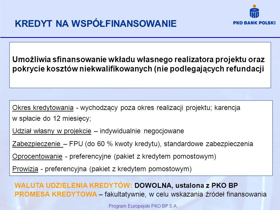 Program Europejski PKO BP S.A. Umożliwia sfinansowanie wkładu własnego realizatora projektu oraz pokrycie kosztów niekwalifikowanych (nie podlegającyc