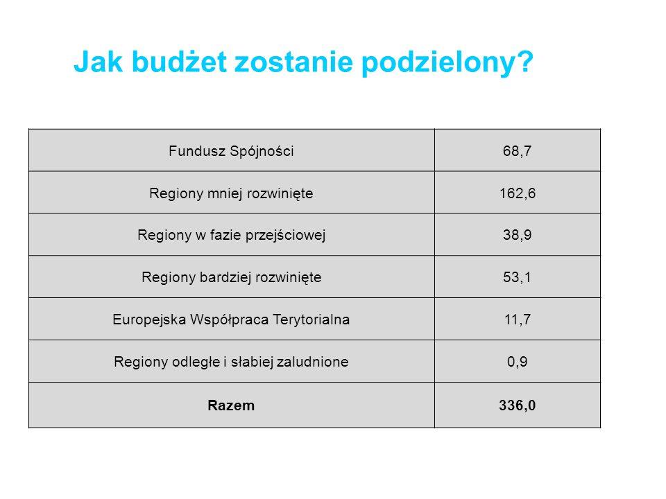 Jak budżet zostanie podzielony? Fundusz Spójności68,7 Regiony mniej rozwinięte162,6 Regiony w fazie przejściowej38,9 Regiony bardziej rozwinięte53,1 E