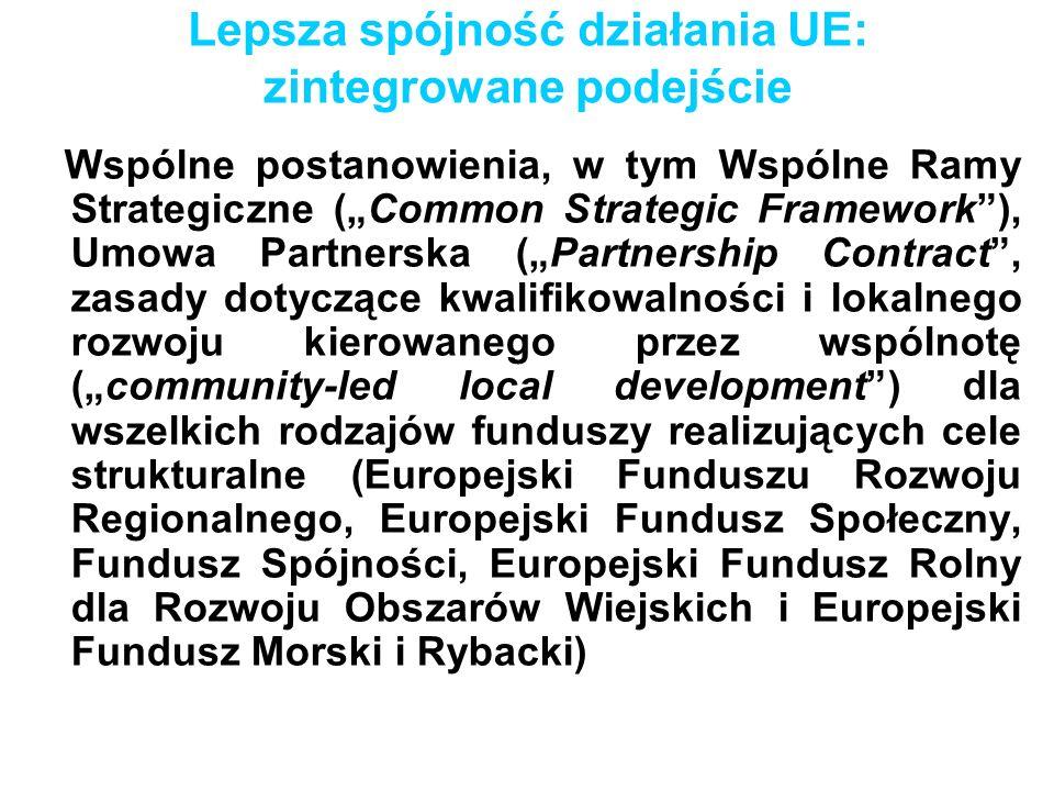 Lepsza spójność działania UE: zintegrowane podejście Wspólne postanowienia, w tym Wspólne Ramy Strategiczne (Common Strategic Framework), Umowa Partne