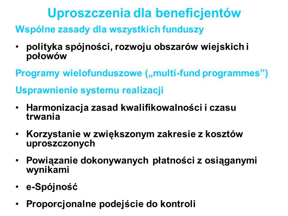 Uproszczenia dla beneficjentów Wspólne zasady dla wszystkich funduszy polityka spójności, rozwoju obszarów wiejskich i połowów Programy wielofunduszow