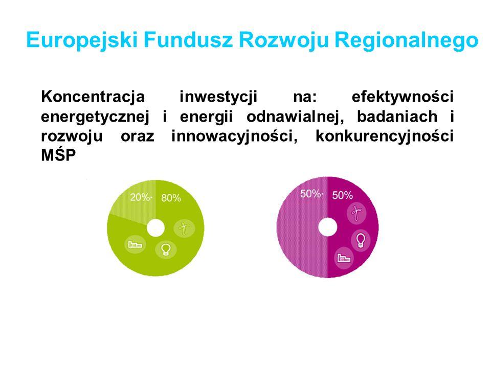 Europejski Fundusz Rozwoju Regionalnego Koncentracja inwestycji na: efektywności energetycznej i energii odnawialnej, badaniach i rozwoju oraz innowac