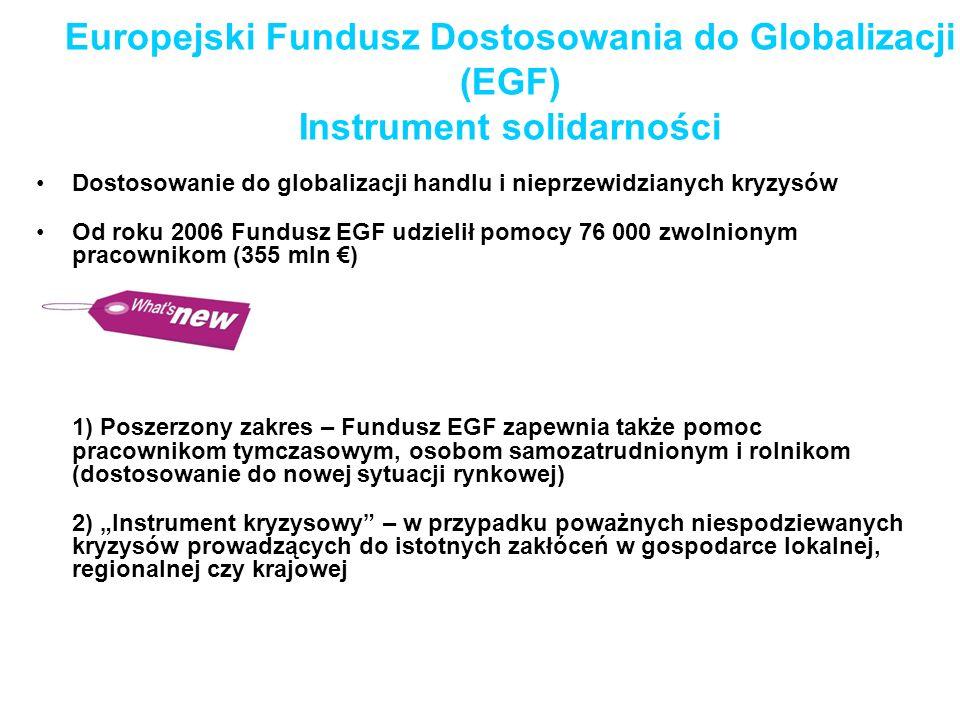 Dostosowanie do globalizacji handlu i nieprzewidzianych kryzysów Od roku 2006 Fundusz EGF udzielił pomocy 76 000 zwolnionym pracownikom (355 mln ) 1)