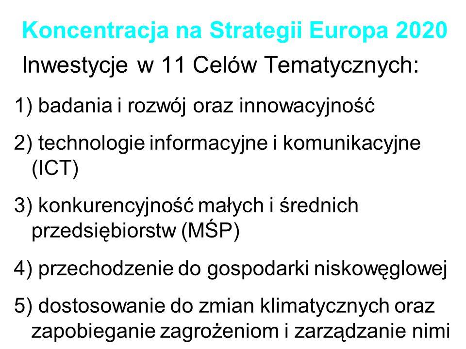 Koncentracja na Strategii Europa 2020 Inwestycje w 11 Celów Tematycznych: 6) ochrona środowiska i efektywność (wykorzystania) zasobów 7) zrównoważony transport oraz eliminowanie wąskich gardeł w ramach podstawowej sieci infrastrukturalnej 8) zatrudnienie oraz wspieranie mobilności na rynku pracy 9) włączenie społeczne oraz przeciwdziałanie ubóstwu 10) edukacja, kompetencje oraz ustawiczne kształcenie 11) podnoszenie zdolności instytucjonalnej oraz skuteczne administracje publiczne