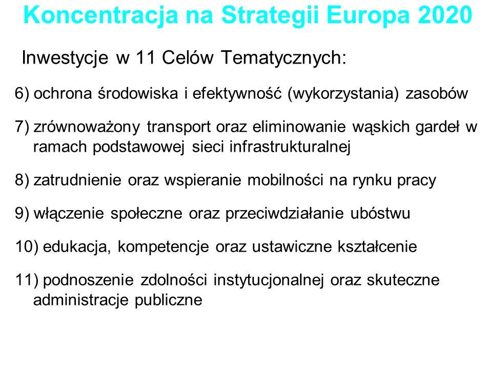 Koncentracja na Strategii Europa 2020 Inwestycje w 11 Celów Tematycznych: 6) ochrona środowiska i efektywność (wykorzystania) zasobów 7) zrównoważony