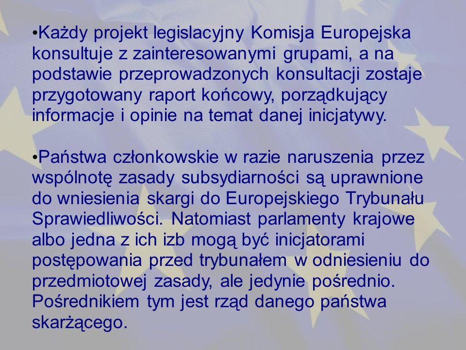 Każdy projekt legislacyjny Komisja Europejska konsultuje z zainteresowanymi grupami, a na podstawie przeprowadzonych konsultacji zostaje przygotowany raport końcowy, porządkujący informacje i opinie na temat danej inicjatywy.