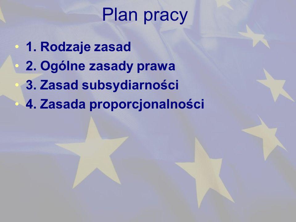 Plan pracy 1. Rodzaje zasad 2. Ogólne zasady prawa 3.