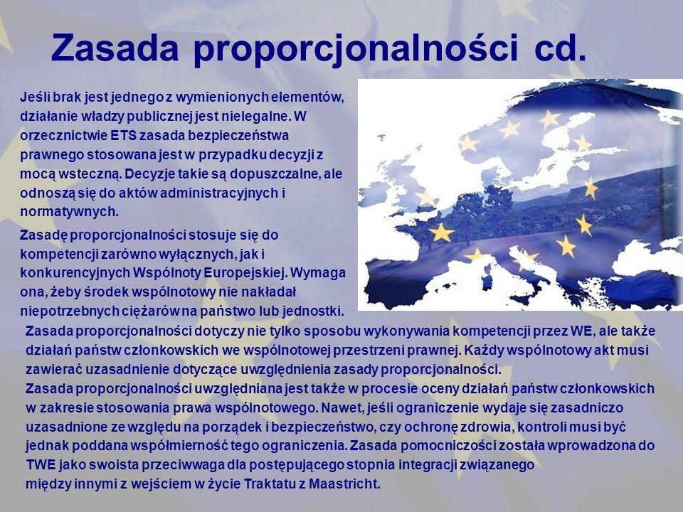 Zasada proporcjonalności cd.