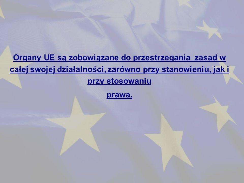 Organy UE są zobowiązane do przestrzegania zasad w całej swojej działalności, zarówno przy stanowieniu, jak i przy stosowaniu prawa.