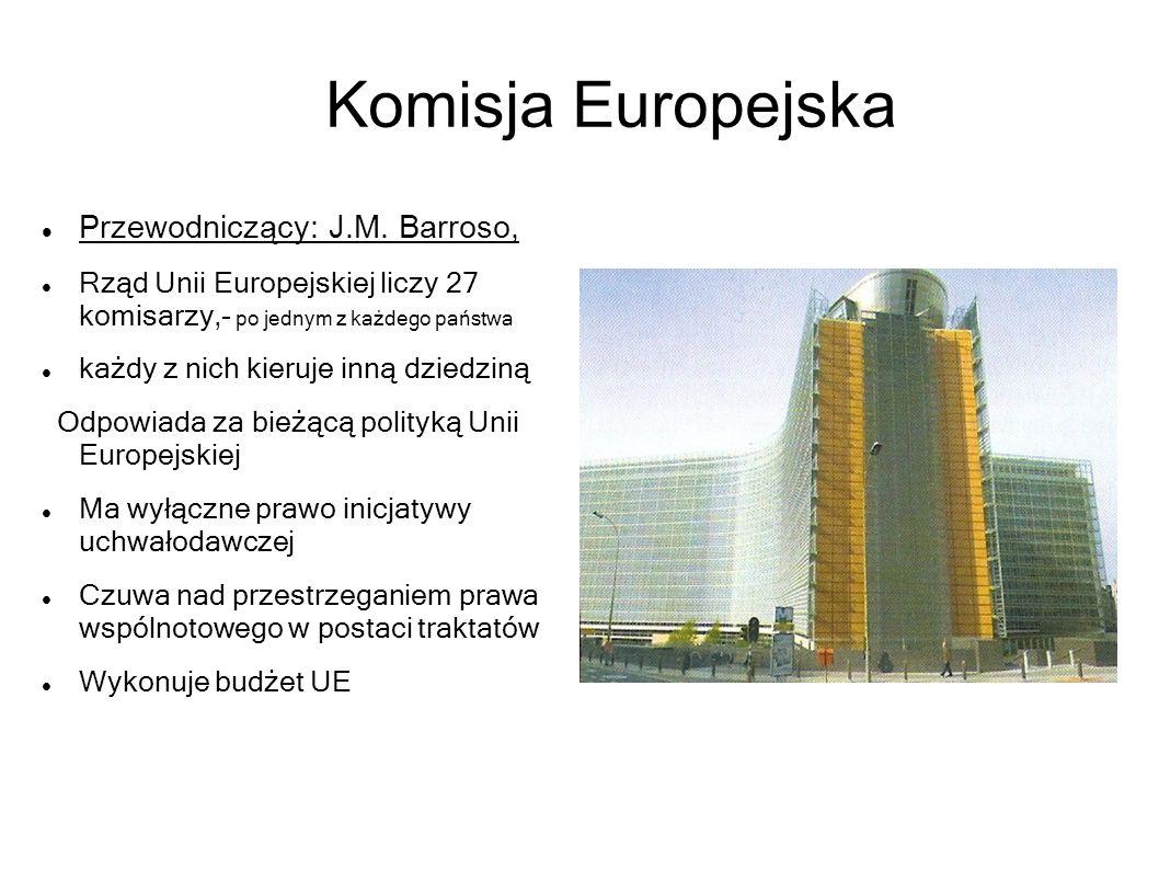 Komisja Europejska Przewodniczący: J.M. Barroso, Rząd Unii Europejskiej liczy 27 komisarzy,- po jednym z każdego państwa każdy z nich kieruje inną dzi