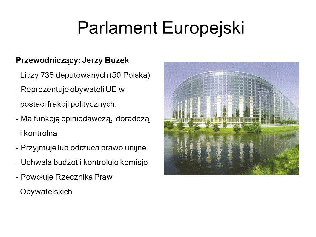 Parlament Europejski Przewodniczący: Jerzy Buzek Liczy 736 deputowanych (50 Polska) - Reprezentuje obywateli UE w postaci frakcji politycznych. - Ma f