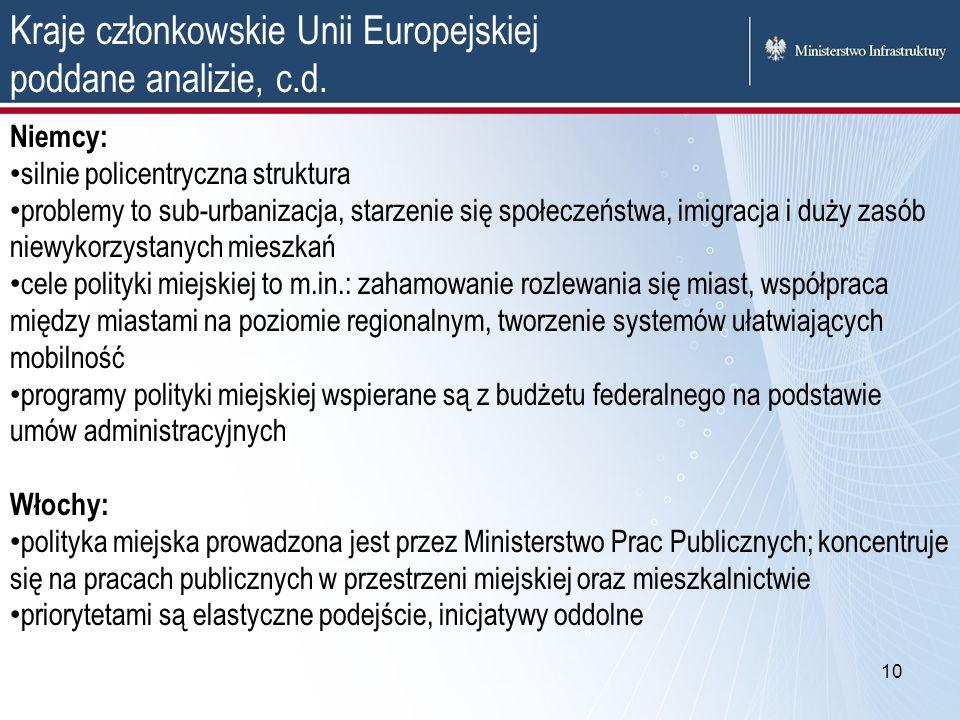10 Kraje członkowskie Unii Europejskiej poddane analizie, c.d. Niemcy: silnie policentryczna struktura problemy to sub-urbanizacja, starzenie się społ
