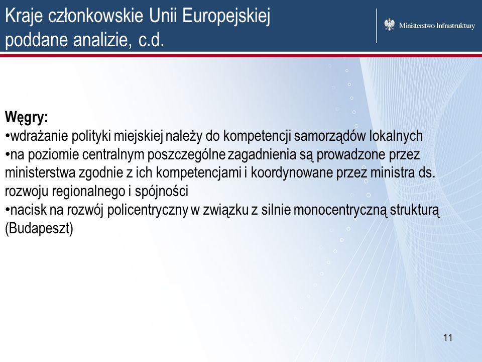 11 Kraje członkowskie Unii Europejskiej poddane analizie, c.d. Węgry: wdrażanie polityki miejskiej należy do kompetencji samorządów lokalnych na pozio