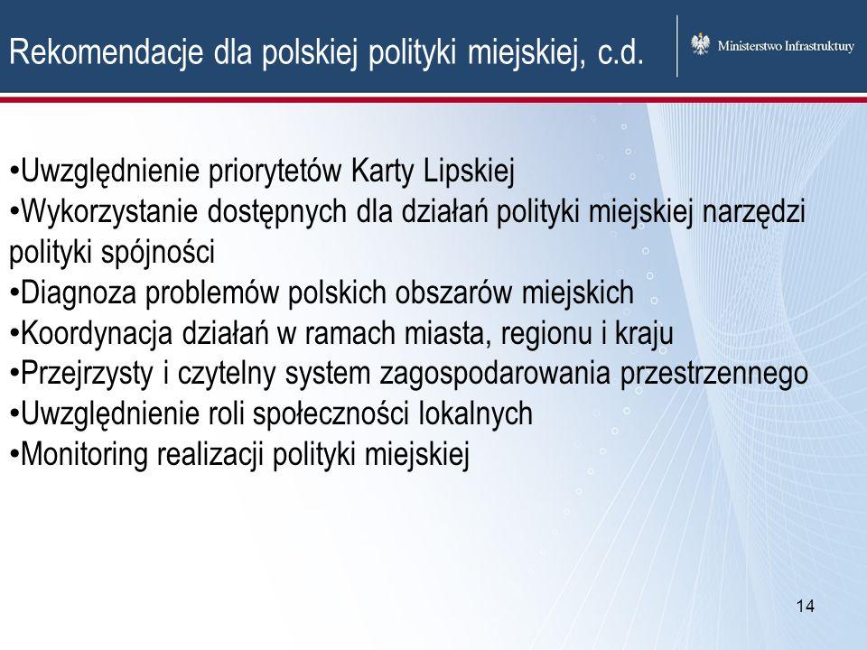 14 Rekomendacje dla polskiej polityki miejskiej, c.d. Uwzględnienie priorytetów Karty Lipskiej Wykorzystanie dostępnych dla działań polityki miejskiej