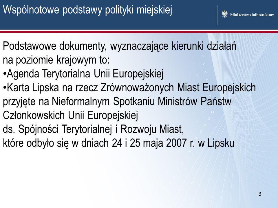 3 Wspólnotowe podstawy polityki miejskiej Podstawowe dokumenty, wyznaczające kierunki działań na poziomie krajowym to: Agenda Terytorialna Unii Europe