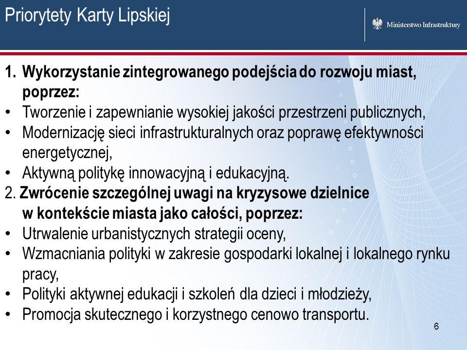 6 Priorytety Karty Lipskiej 1. Wykorzystanie zintegrowanego podejścia do rozwoju miast, poprzez: Tworzenie i zapewnianie wysokiej jakości przestrzeni