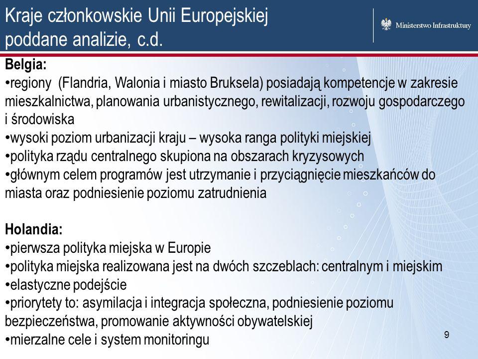 9 Kraje członkowskie Unii Europejskiej poddane analizie, c.d. Belgia: regiony (Flandria, Walonia i miasto Bruksela) posiadają kompetencje w zakresie m