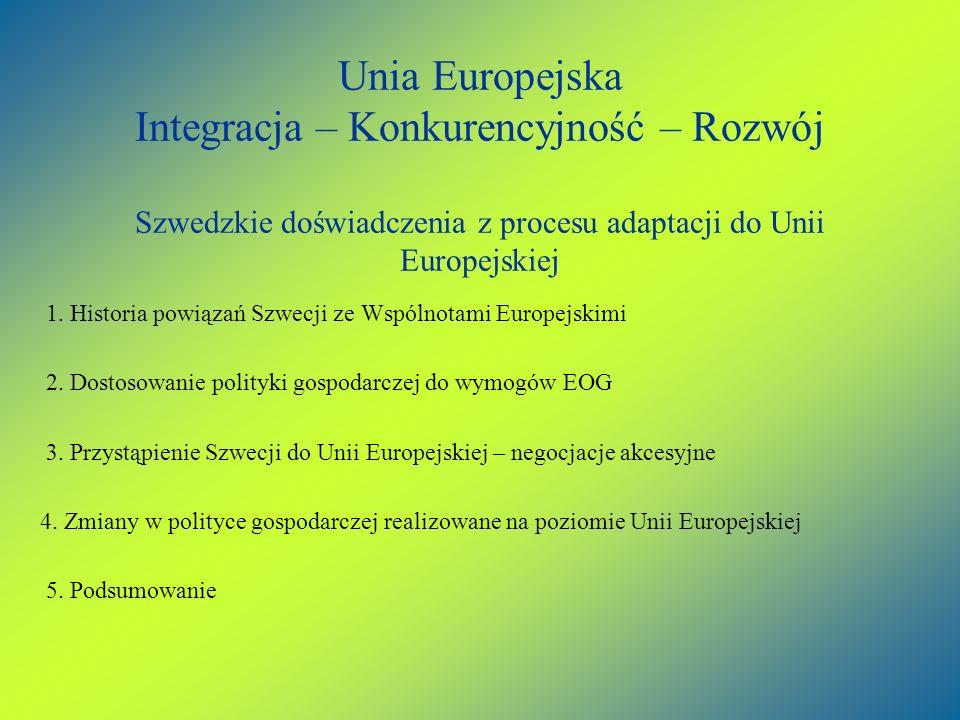 Unia Europejska Integracja – Konkurencyjność – Rozwój Szwedzkie doświadczenia z procesu adaptacji do Unii Europejskiej 1. Historia powiązań Szwecji ze
