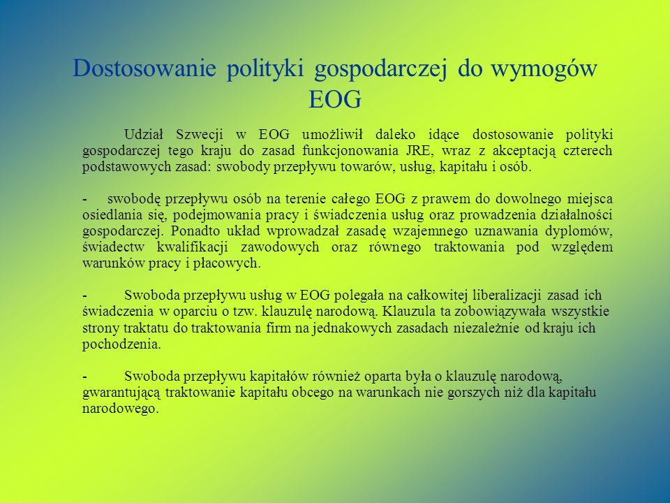 Dostosowanie polityki gospodarczej do wymogów EOG Udział Szwecji w EOG umożliwił daleko idące dostosowanie polityki gospodarczej tego kraju do zasad f