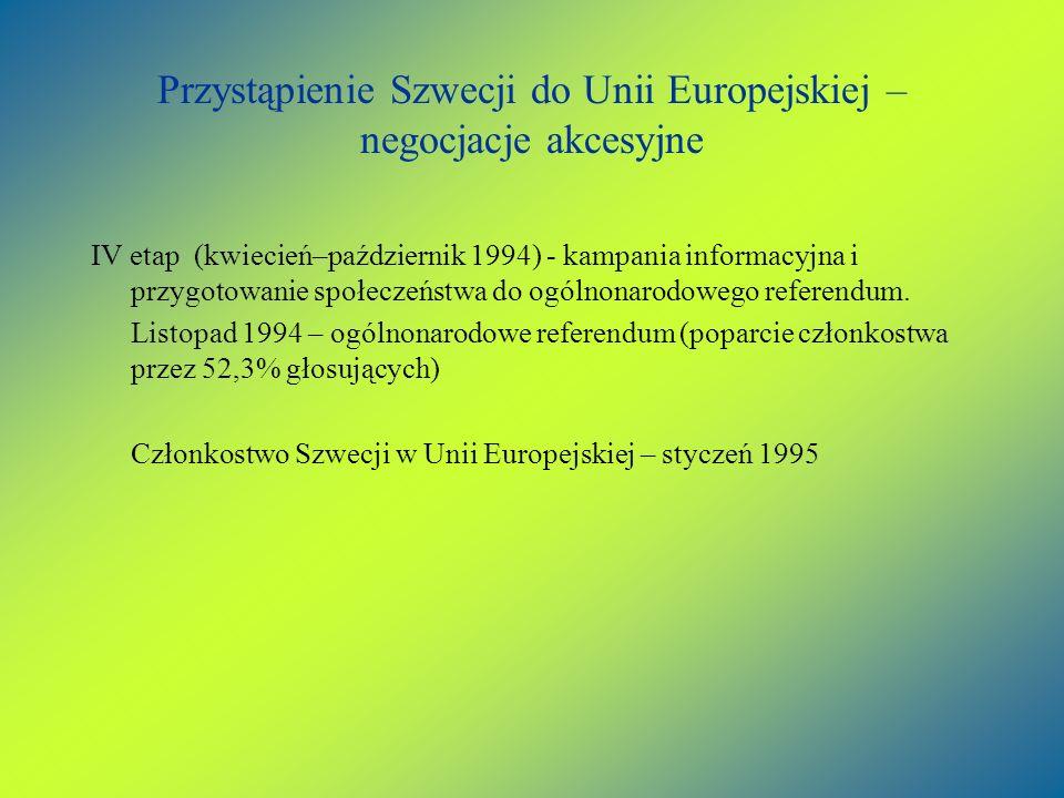 Przystąpienie Szwecji do Unii Europejskiej – negocjacje akcesyjne IV etap (kwiecień–październik 1994) - kampania informacyjna i przygotowanie społecze