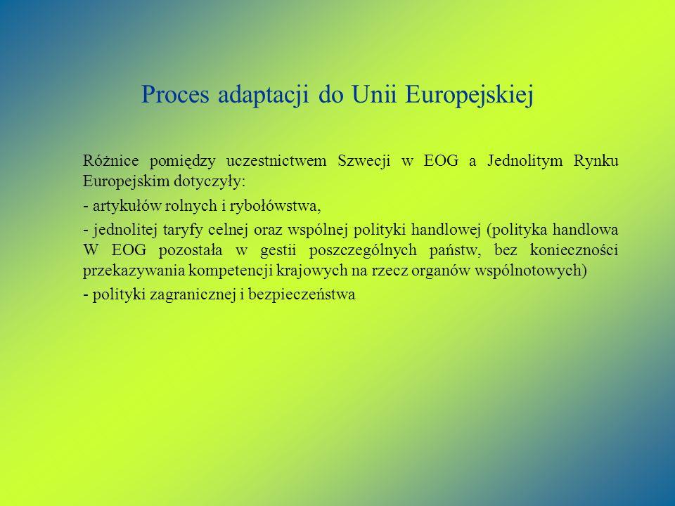 Proces adaptacji do Unii Europejskiej Różnice pomiędzy uczestnictwem Szwecji w EOG a Jednolitym Rynku Europejskim dotyczyły: - artykułów rolnych i ryb