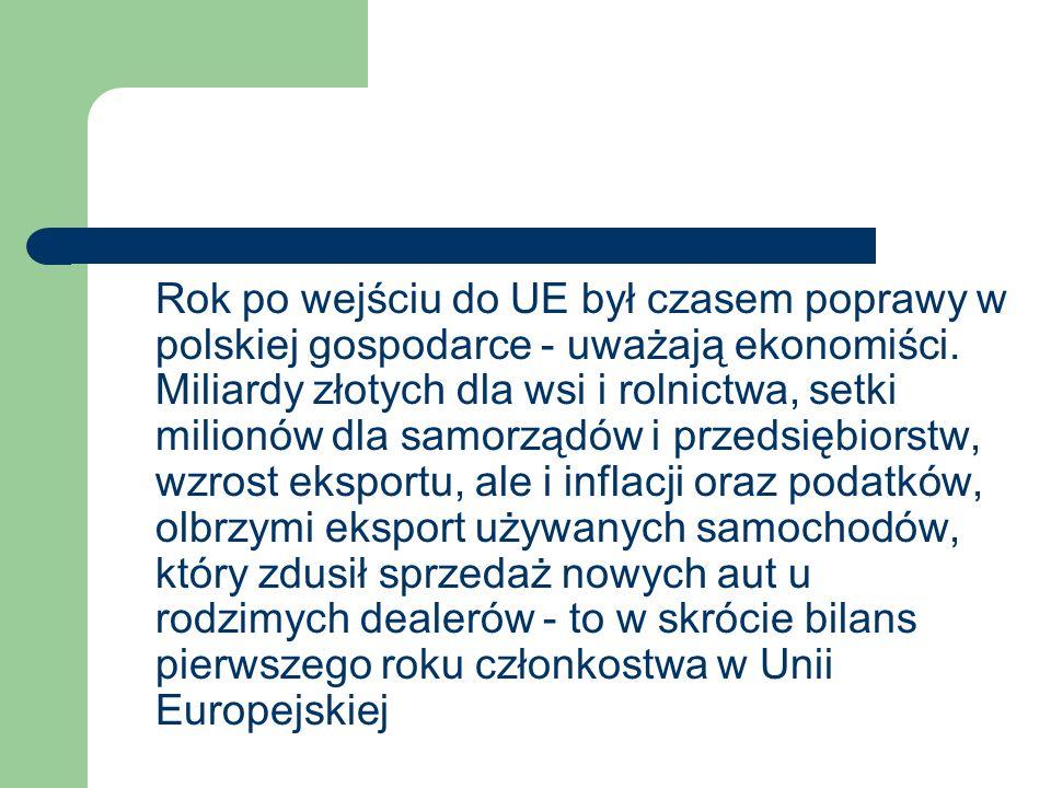 Unijne fakty i mity – bilans po roku Przed naszym wejściem do UE w powszechnej opinii (również po stronie Piętnastki) pokutowało wiele uprzedzeń i obaw.
