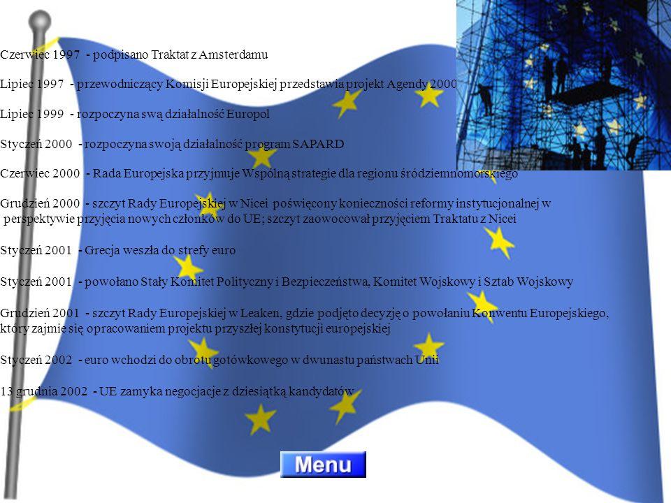 Czerwiec 1997 - podpisano Traktat z Amsterdamu Lipiec 1997 - przewodniczący Komisji Europejskiej przedstawia projekt Agendy 2000 Lipiec 1999 - rozpocz