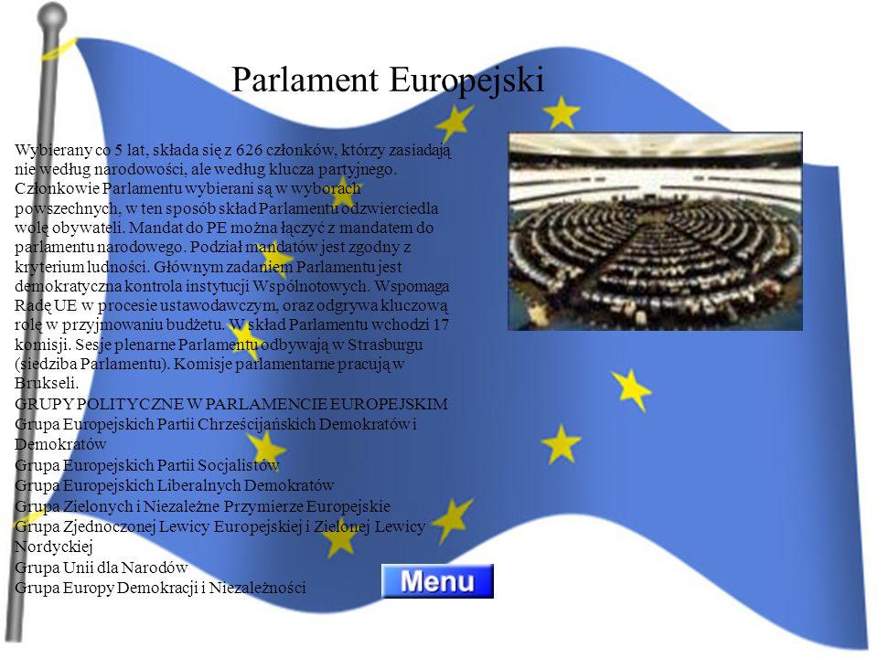 Wybierany co 5 lat, składa się z 626 członków, którzy zasiadają nie według narodowości, ale według klucza partyjnego. Członkowie Parlamentu wybierani