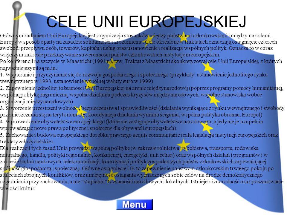 Głównym zadaniem Unii Europejskiej jest organizacja stosunków między państwami członkowskimi i między narodami Europy w sposób oparty na zasadzie soli