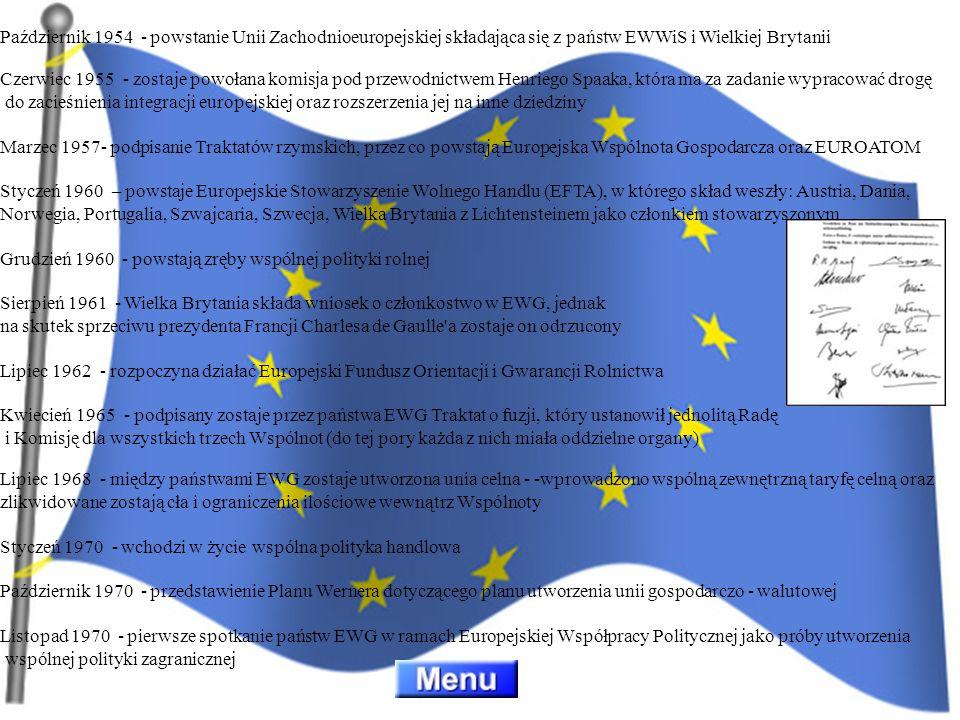 Październik 1954 - powstanie Unii Zachodnioeuropejskiej składająca się z państw EWWiS i Wielkiej Brytanii Czerwiec 1955 - zostaje powołana komisja pod
